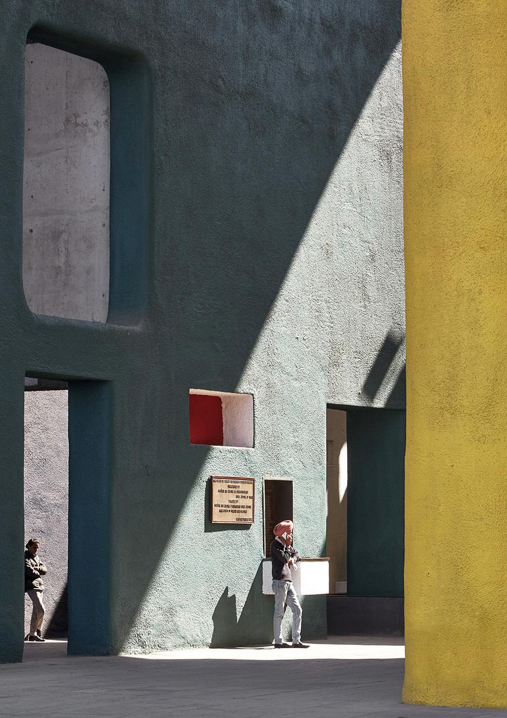 The Leaning Man is a scene taken outside the High Court designed by the Swiss Architect Le Corbusier in Chandigarh India.